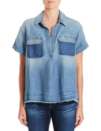 Peter Denim Short Sleeve Shirt With Contrast Pocket