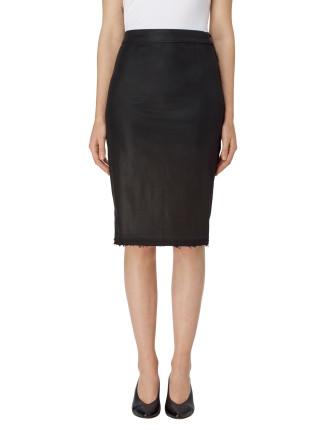 Side Zip Pencil Skirt Coated Black