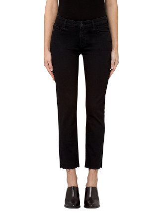Amelia High Rise Crop Jean With Raw Edge