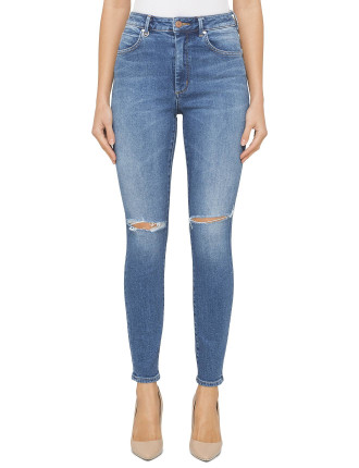Marilyn Super High Rise Skinny Ankle With Knee Slit