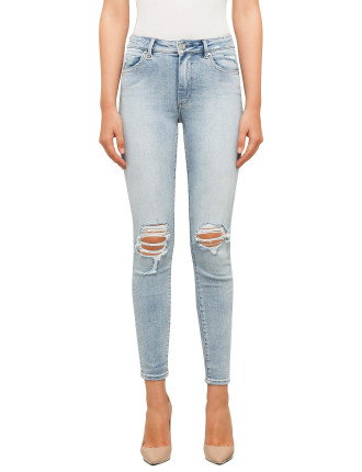 Smith High Rise Skinny Ankle Jean With Destruction