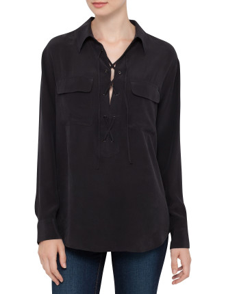 Knox - Lace Up Shirt Cdc Super Vintage Silk