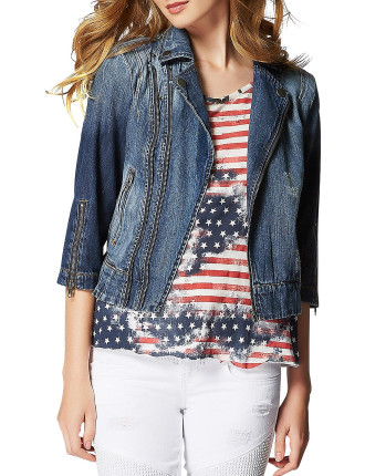 Denim Moto Crop Jacket - Ace-High Wash 2 W/ Destroy