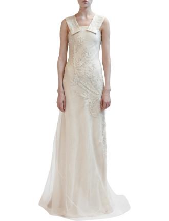 Silk Organza Long Beaded Gown