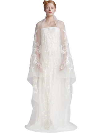 Butterfly Bias Embroidered Gown
