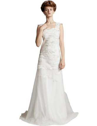Silk Embroided Strap Gown