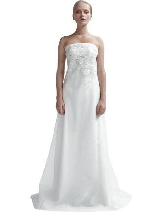 Silk Back Tucked Gown