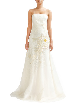 Hand Embroidered Strapless Gown