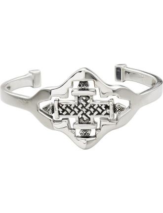 CAMILLA White Brass Ethiopian Motif Spin Bracelet