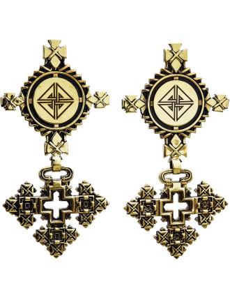 CAMILLA Brass Ethiopian Motif Earrings