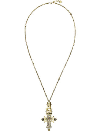 CAMILLA Brass Ethiopian Motif Long Necklace
