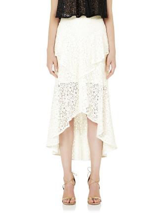 Sistine Frill Front Midi Skirt