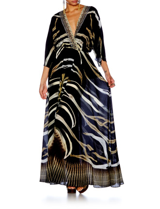CAMILLA Zebra Crossing Batwing Wrap Dress