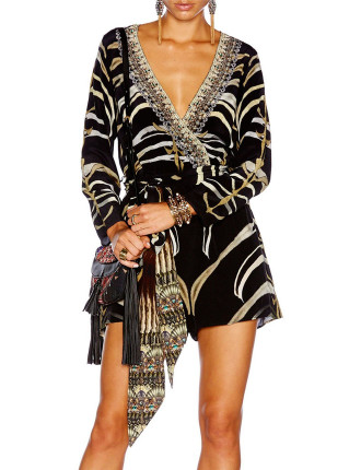 CAMILLA Zebra Crossing L/S Cross Front Playsuit