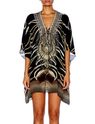 CAMILLA Zebra Crossing Short Lace-Up Kaftan