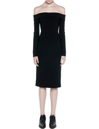 Shoulderless Long Sleeve Dress
