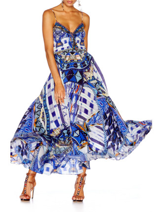 CAMILLA Rhythm & Blues Long Dress With Tie Front