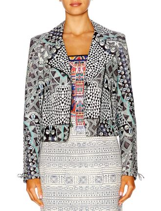 CAMILLA Fez Says Maroc Printed Leather Biker