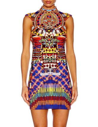 CAMILLA Rainbow Warrior Cap Sleeve Collar Dress
