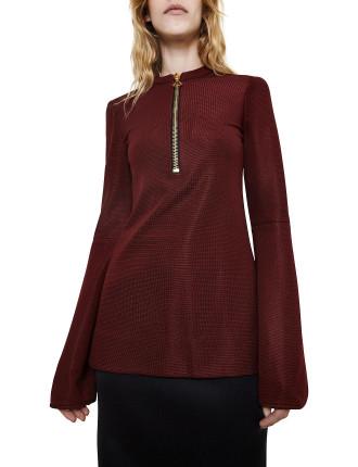 Femme Zip Front Flare Sleeve Top