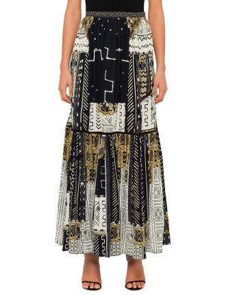 CAMILLA Mali Mud Story Long Skirt W/ Contrast Panels