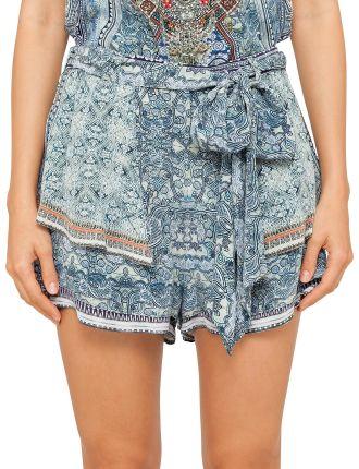 CAMILLA ANTIQUE BATIK Shorts W/ Overlay And Tie