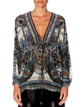 CAMILLA GIRL ON THE WING Lace Up Blouse
