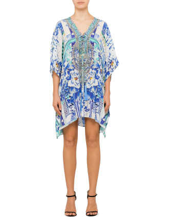 CAMILLA PORCELAIN PARADISE Short Lace Up Kaftan