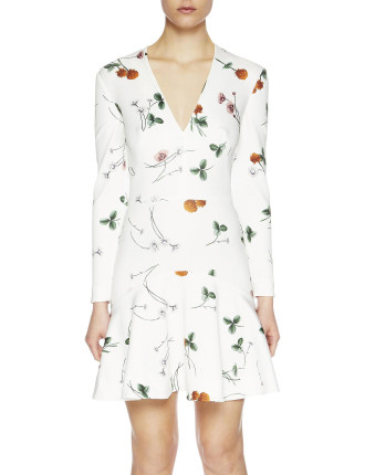 Elderflower Scuba Dress V Neck