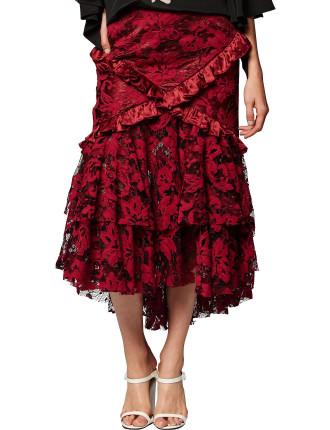 Crimson Magnolia Skirt