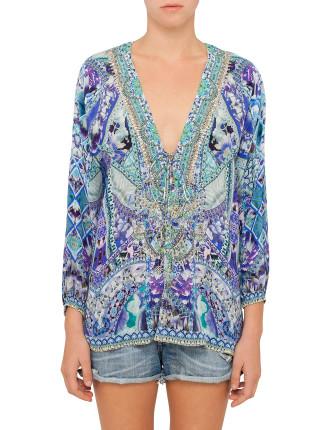 CAMILLA The Blue Market Lace Up Shirt
