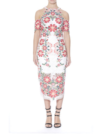 FLOWER BOMB LACE MIDI DRESS