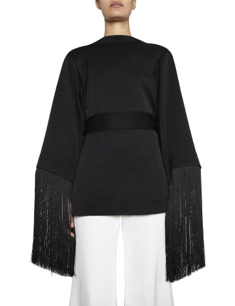 LOTTERY FRINGED SLEEVE WRAP TOP