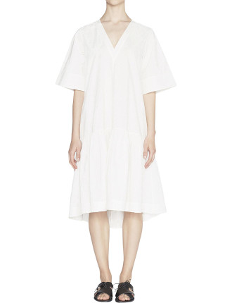Morgan Cotton Poplin V-Neck Dress
