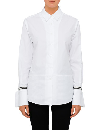 MARGOT CLASSIC SHIRT WITH GROSGRAIN PLEATED CUFF