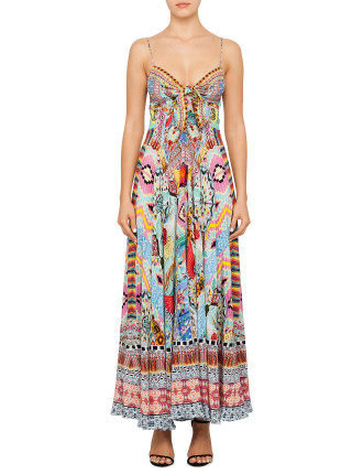 LONG DRESS WITH TIE FRONT