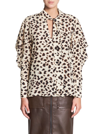 CHEETAH SILK BLOUSE