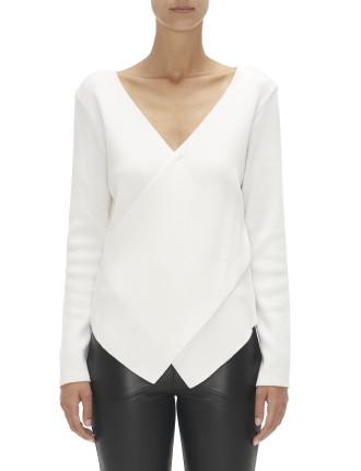 V neck skinny rib knit