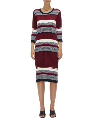 3 colour striped pleat dress