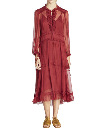 Hayley Crinkle Silk Georgette Dress w/Slip