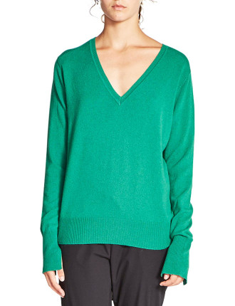 Cashmere V Neck Boyfriend Sweater