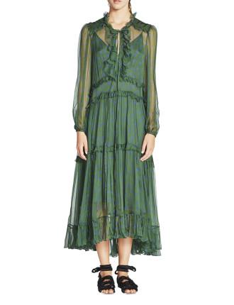 Poppy Crinkle Silk Georgette L/S Dress w Slip
