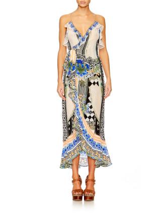 CAMILLA Salvador Secrets Long Wrap Dress W/ Frill