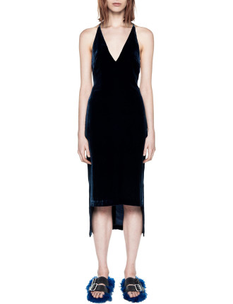 Silk Velvet Fine Line Cami Dress