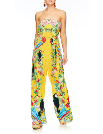 CAMILLA Love Birds Tie Waist Strapless Jumpsuit