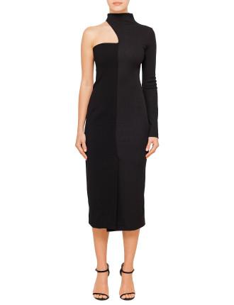 Half Rib Strapless Dress (Long Slv)