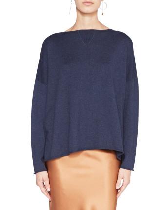 Cotton Cashmere Boxy Knit Sweater