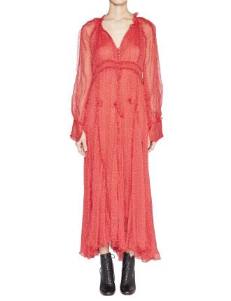 Ladybird Silk Long Sleeve Godet Dress with Slip