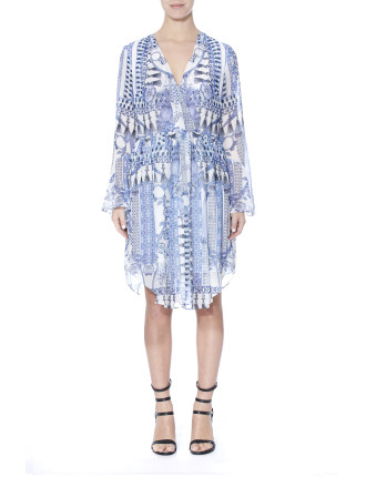 Wedgewood Print Wrap Dress
