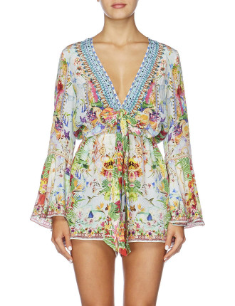 CAMILLA Miranda's Diary Wide Sleeve Tie Front Playsuit